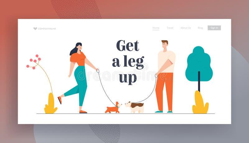 Pagina Web dedicata ai cani che camminano con i cani nel parco pubblico Persone che trascorrono tempo con animali domestici all'a illustrazione di stock