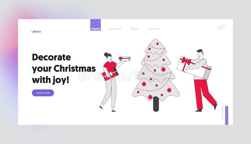 Pagina Web dedicata alla celebrazione delle feste natalizie aziendali o domestiche Gente Felice Con Scatole Di Regali Che Danno R illustrazione vettoriale