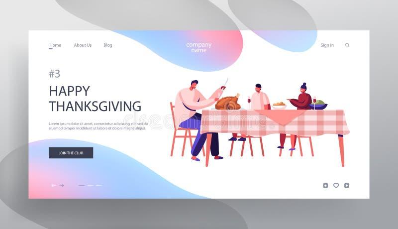 Pagina Web dedicata a Happy Family Dad and Kids Thanksgiving Day. Padre Tagliato arrosto Turchia seduto a tavola royalty illustrazione gratis