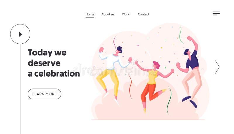Pagina Web di Happy Young People With Party Landing Caratteri allegri ballano e saltano con le mani in alto nella stanza royalty illustrazione gratis