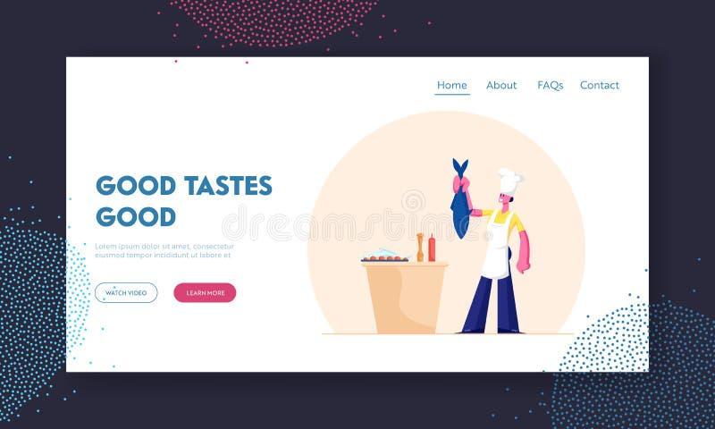 Pagina Web Sull'Atterraggio Di Seafood Meal Cooking Giovane donna nella Toque Bianca e Apron che tiene in mano un grosso pesce pe illustrazione vettoriale