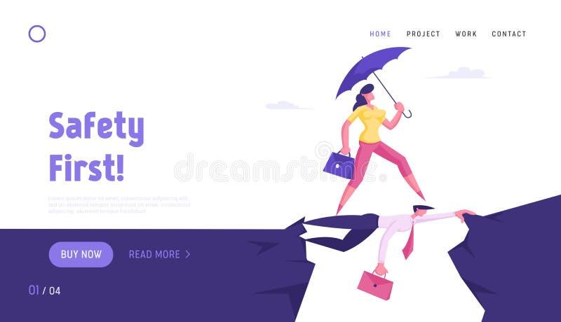 Pagina Web Sull'Atterraggio Di Social Climber, Careerist Reach Goal Una donna d'affari con Umbrella supera Abyss illustrazione vettoriale