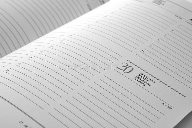 Paginación de la agenda foto de archivo