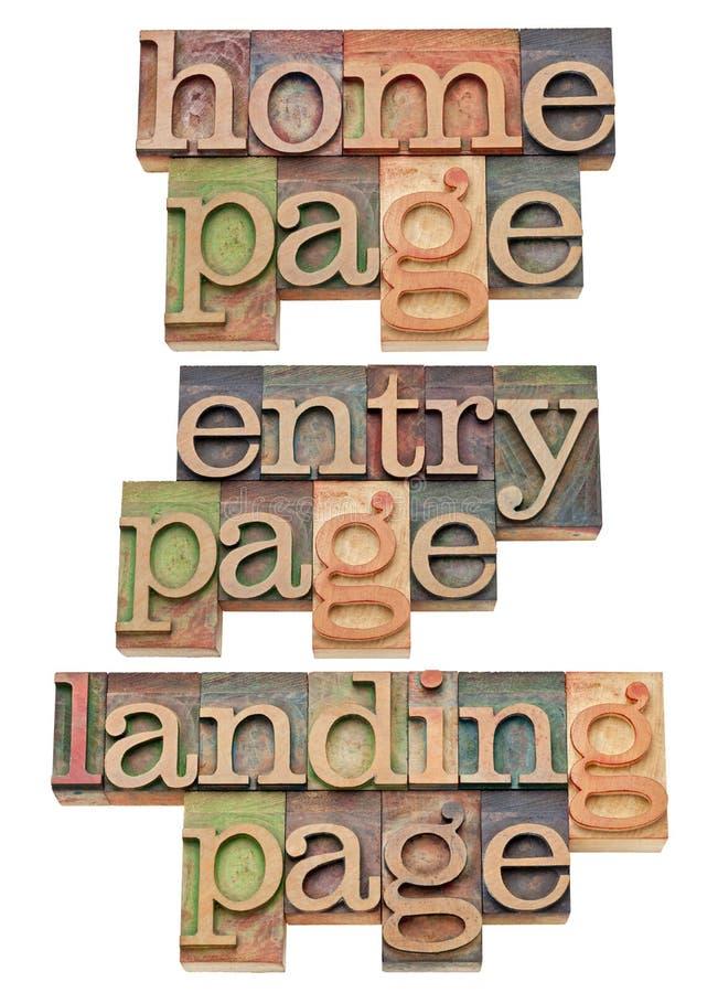 Paginación de la entrada, del hogar y del aterrizaje - concepto del Internet fotografía de archivo libre de regalías