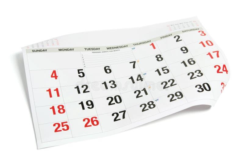 Paginación del calendario imagen de archivo libre de regalías