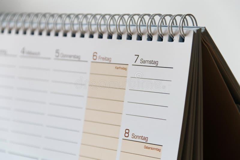 Paginación del calendario foto de archivo libre de regalías