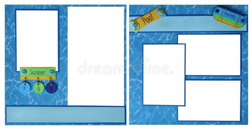 Paginación del libro de recuerdos de la diversión de la piscina del verano foto de archivo libre de regalías