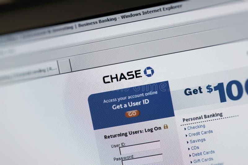 paginación principal del intenet de Chase.com imagen de archivo libre de regalías