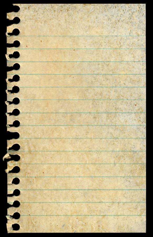 Paginación rasgada espacio en blanco manchada sucia del papel de carta aislada fotos de archivo