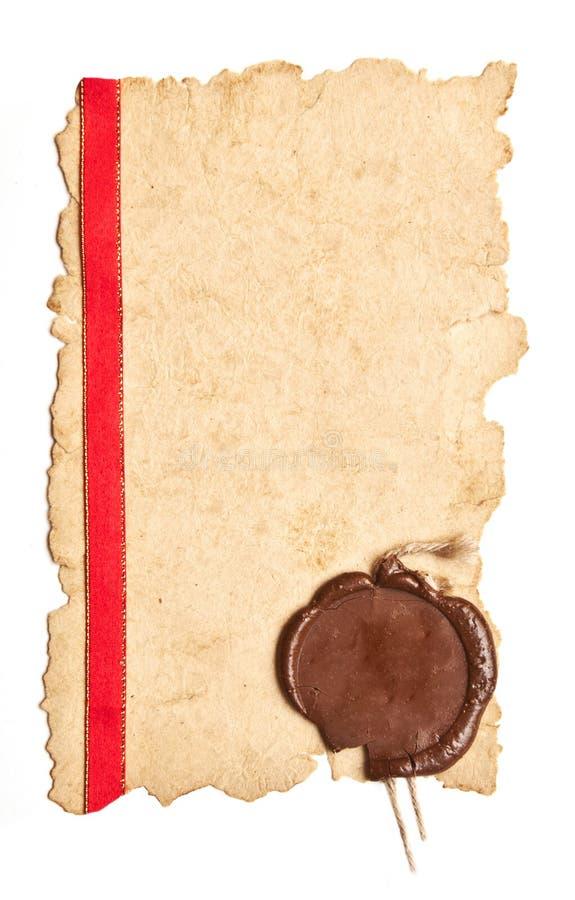 Paginación vieja del diploma fotografía de archivo libre de regalías