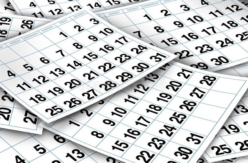 Paginaciones del calendario ilustración del vector