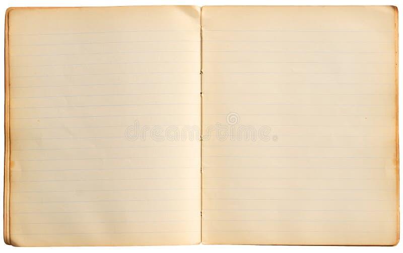 Paginaciones viejas del cuaderno fotografía de archivo