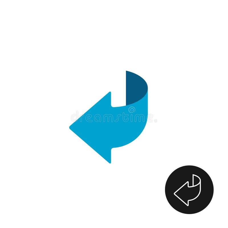 Paginadraai of achterpijl vlak en lineair pictogram vector illustratie
