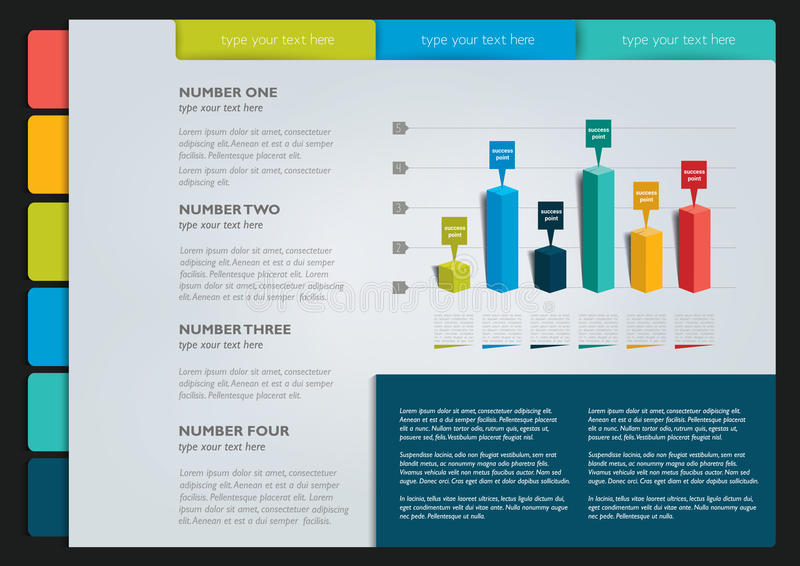 Paginamalplaatje, infographics stock illustratie