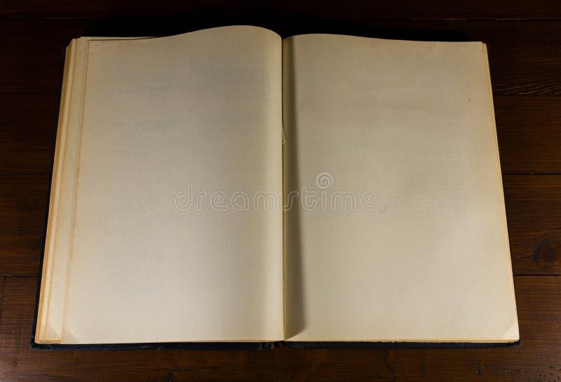 Pagine aperte, vecchie, invecchiate, gialle, in bianco del libro fotografia stock