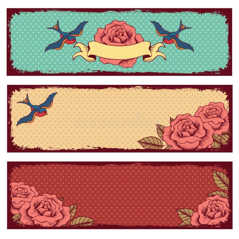 Pagine con i fiori e gli uccelli illustrazione vettoriale