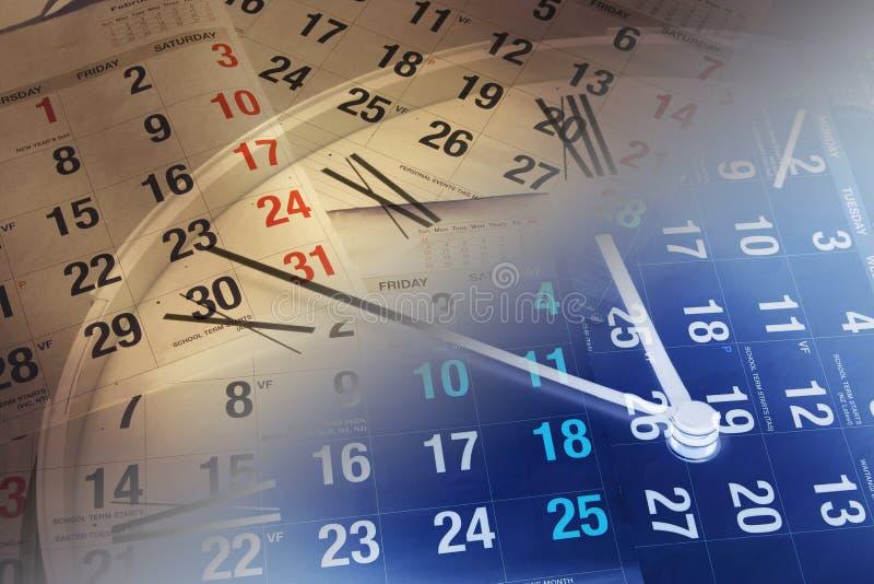 Pagine del calendario e dell'orologio immagine stock