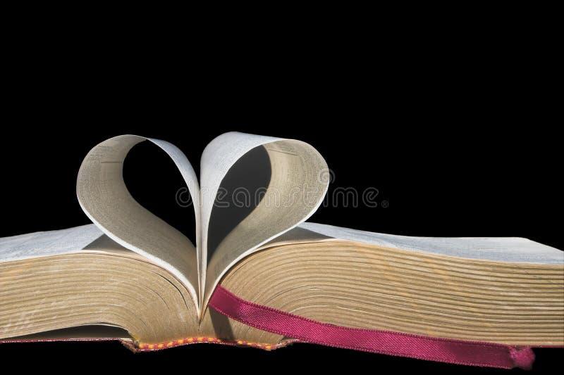 Pagine del libro nella figura del cuore immagini stock libere da diritti