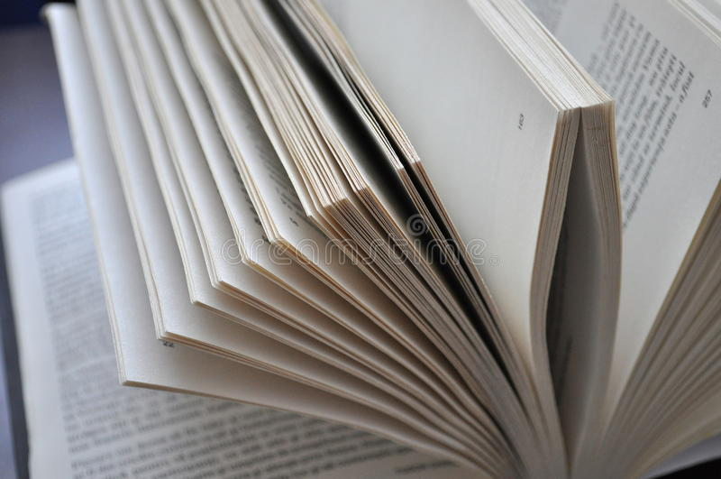 Pagine del primo piano di un libro aperto immagine stock libera da diritti