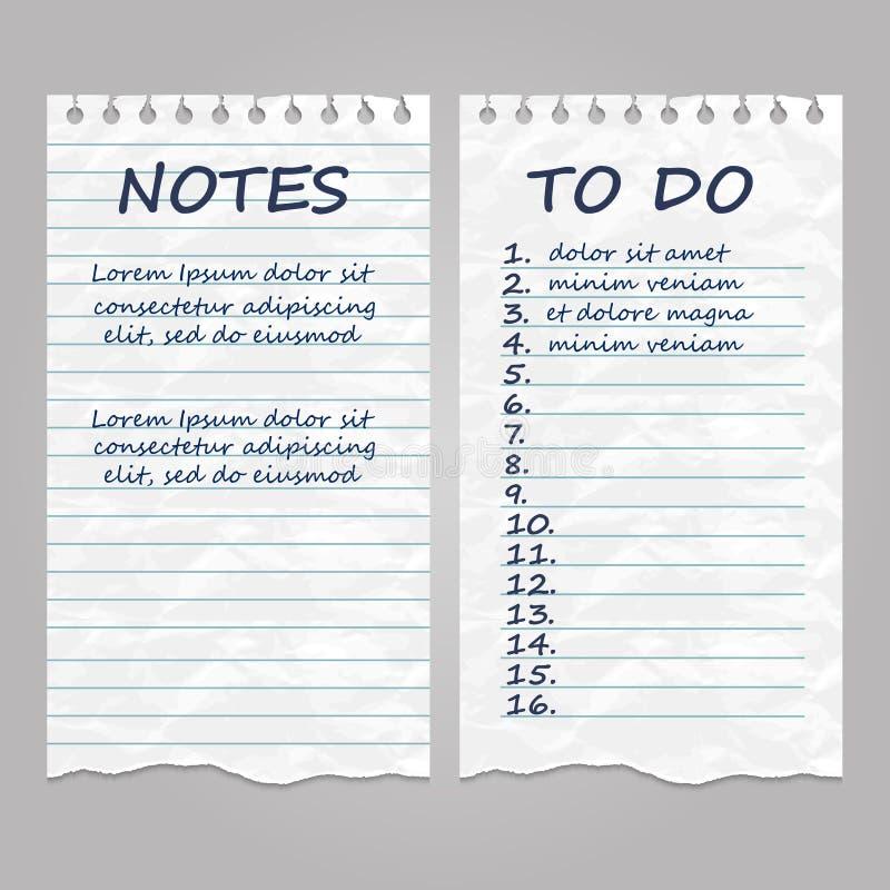 Pagine di carta d'annata strappate per le note e fare lista illustrazione vettoriale