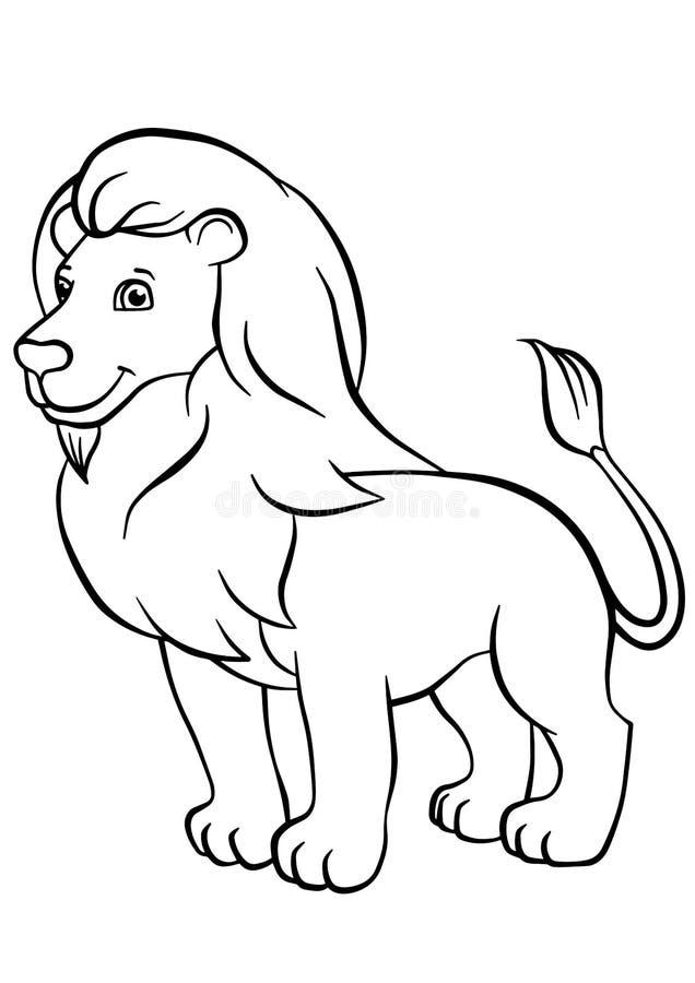 Pagine di coloritura animali Leone sveglio illustrazione vettoriale