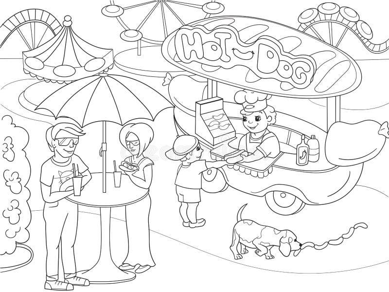 Pagine di coloritura del parco di divertimenti per i bambini Hot dog Illustrazione di vettore del camion dell'alimento illustrazione di stock