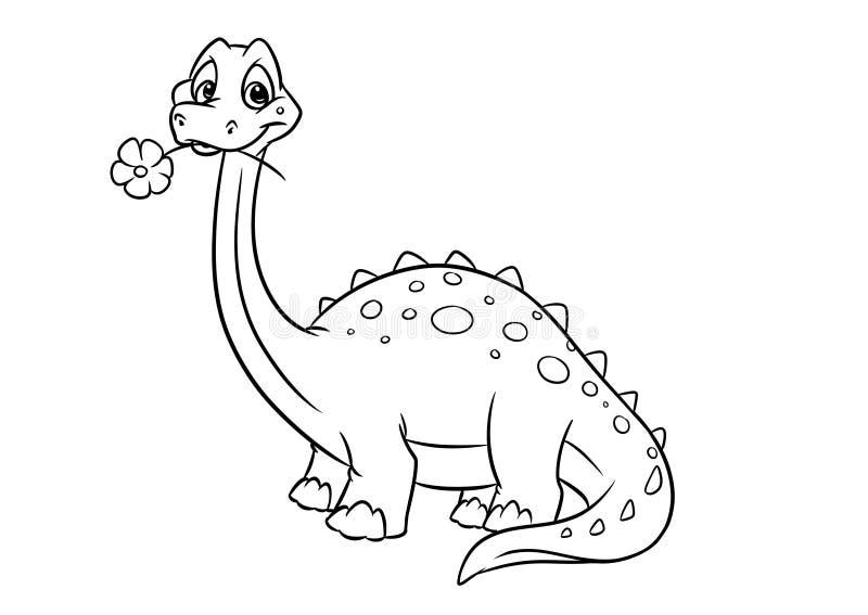 Pagine di coloritura di apatosauro del dinosauro illustrazione vettoriale