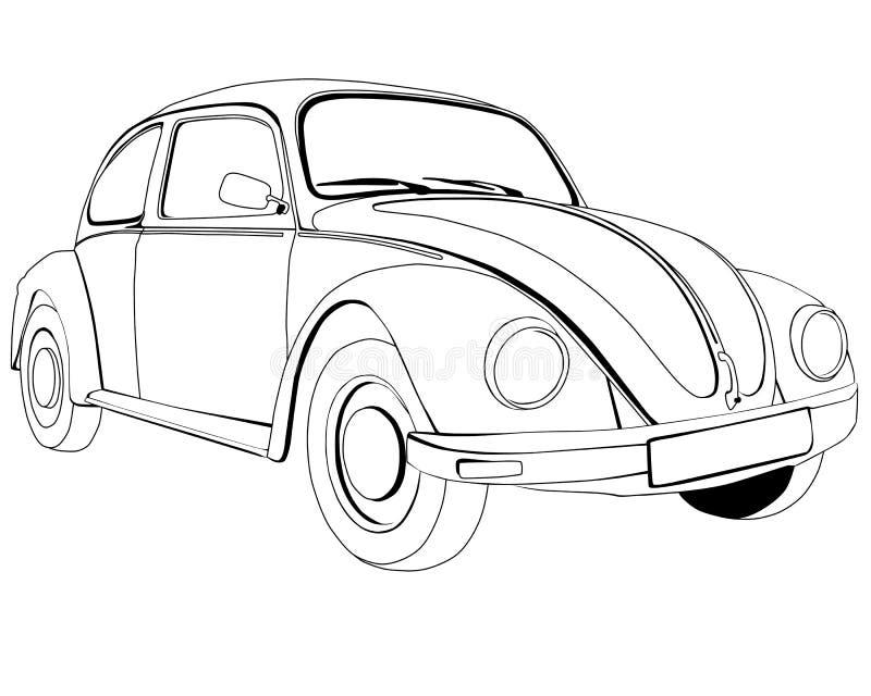 Pagine di coloritura per stampare tipo 1 di Volkswagen illustrazione vettoriale