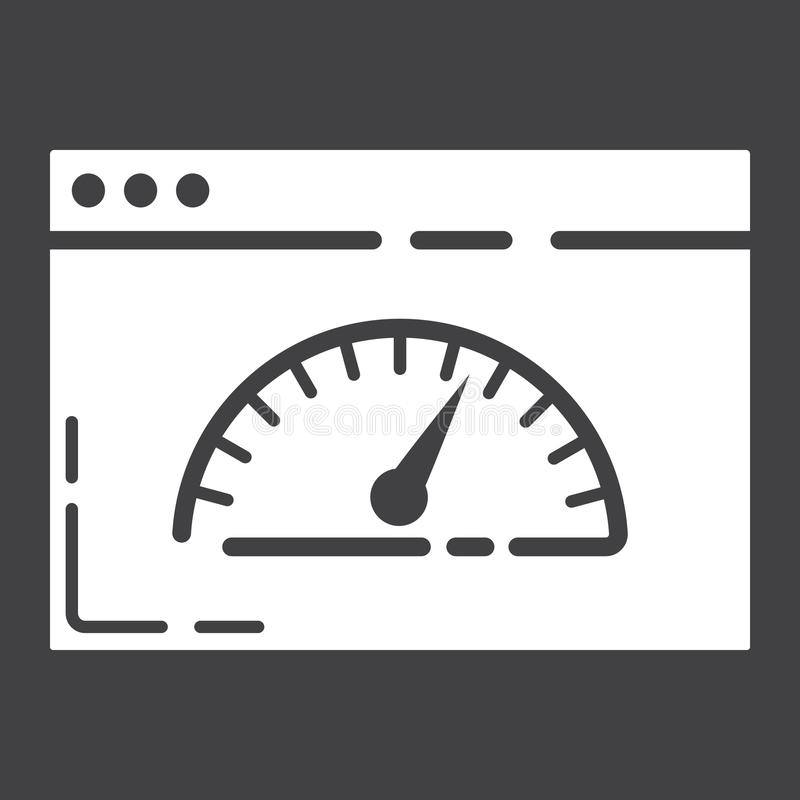 Pagine el icono, el seo y el desarrollo del glyph de la velocidad ilustración del vector