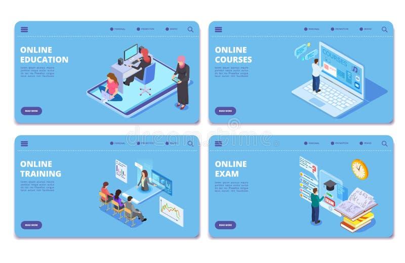 Pagine isometriche di concetto di vettore di istruzione online Esame online, addestramento, corsi che atterrano l'insieme della p illustrazione di stock