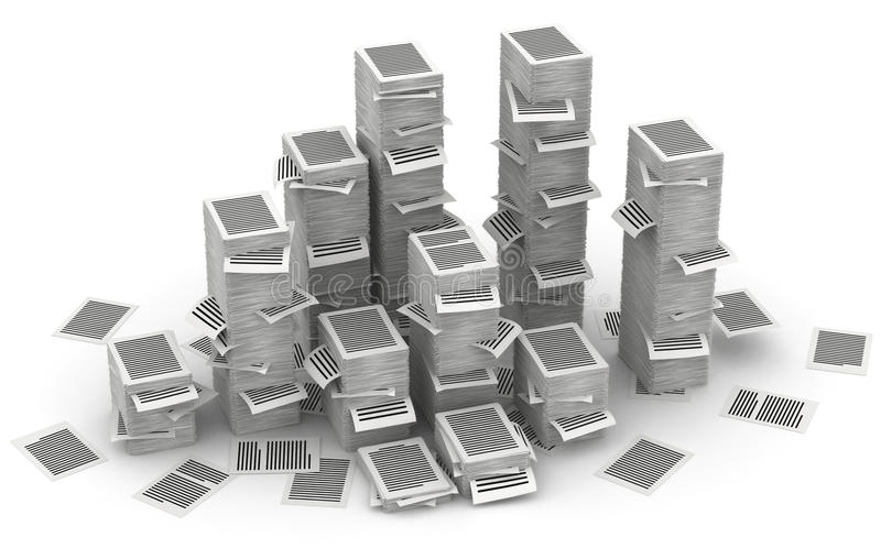 Pagine les piles de papier 3d isometry illustration stock