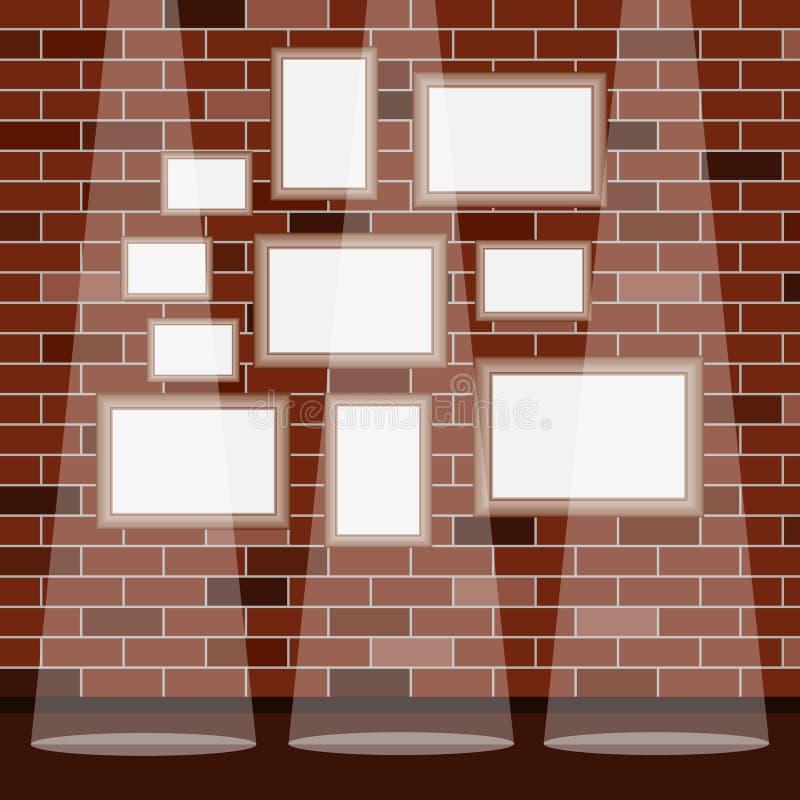 Pagine nell'ambito dell'immagine su un fondo del muro di mattoni Pagina Un insieme dei telai nell'ambito dell'immagine royalty illustrazione gratis