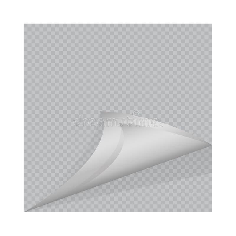 Pagine a onda com sombra na folha de papel vazia ilustração stock