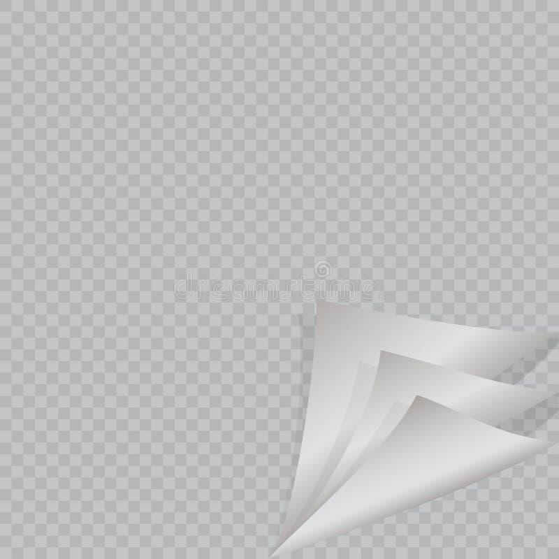 Pagine a onda com sombra na folha de papel vazia ilustração do vetor