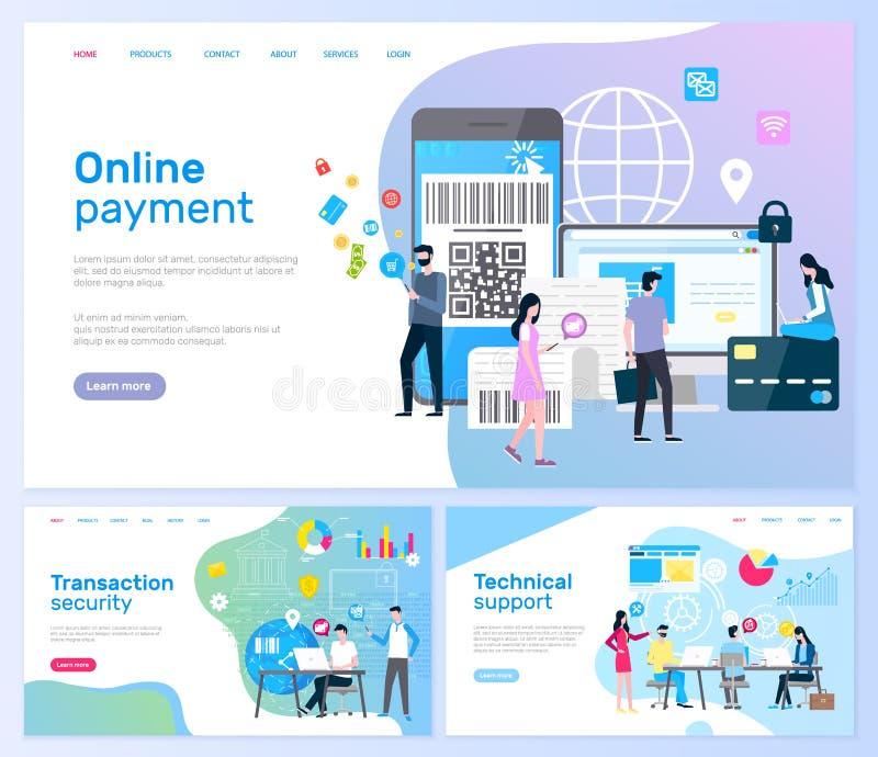 Pagine online di sicurezza di transazione e di pagamento illustrazione di stock
