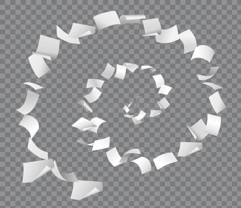 Pagine volanti di Libro Bianco nella forma a spirale su fondo a quadretti illustrazione vettoriale