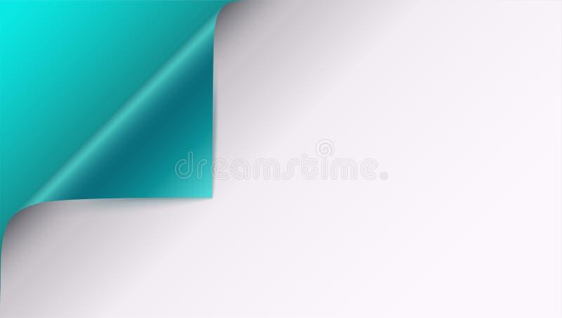 Paginez la boucle avec l'ombre sur la page du papier blanche Dirigez le coin courbé du livre blanc avec l'ombre Plan rapproché d' illustration libre de droits