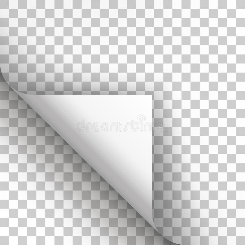 Paginieren Sie Locke mit Schatten auf leerem Blatt Papier stock abbildung