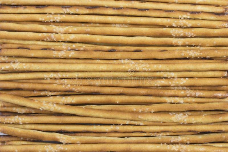Paglia salata della pasta, spuntino del cracker, grissini croccanti, fondo del primo piano immagini stock