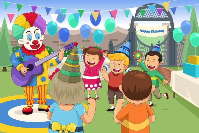 Pagliaccio ad una festa di compleanno dei bambini illustrazione di stock