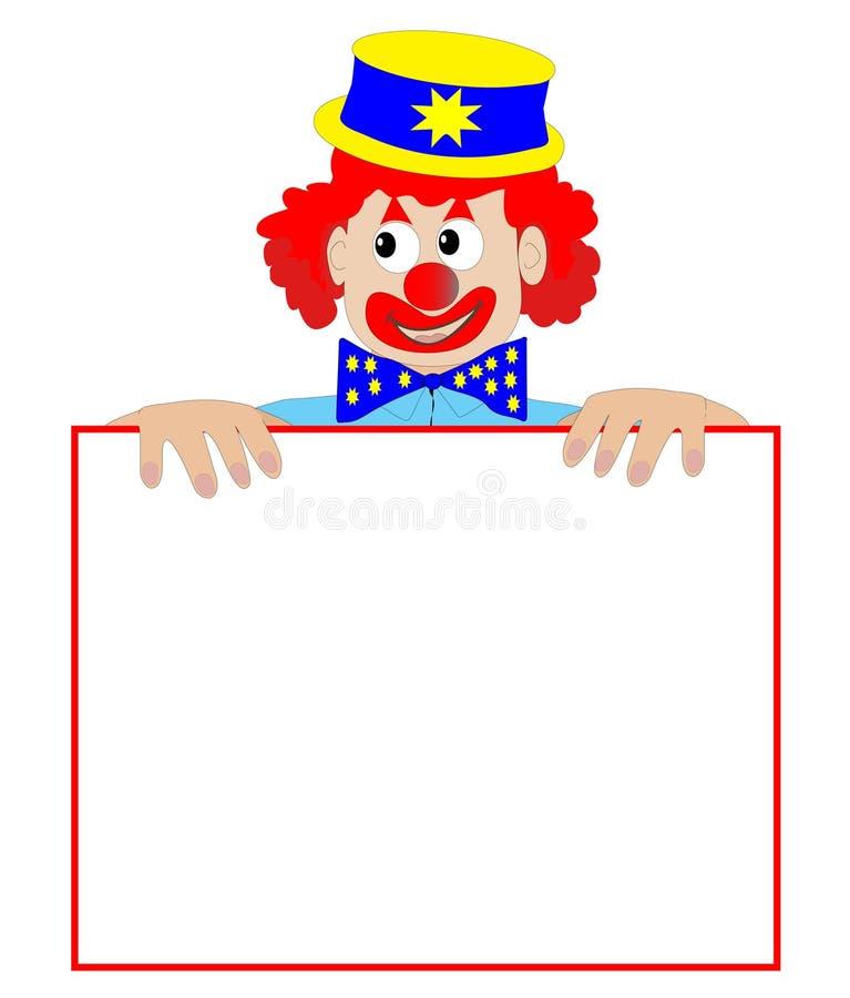 Pagliaccio che tiene un segno in bianco - illustrazione di vettore illustrazione di stock