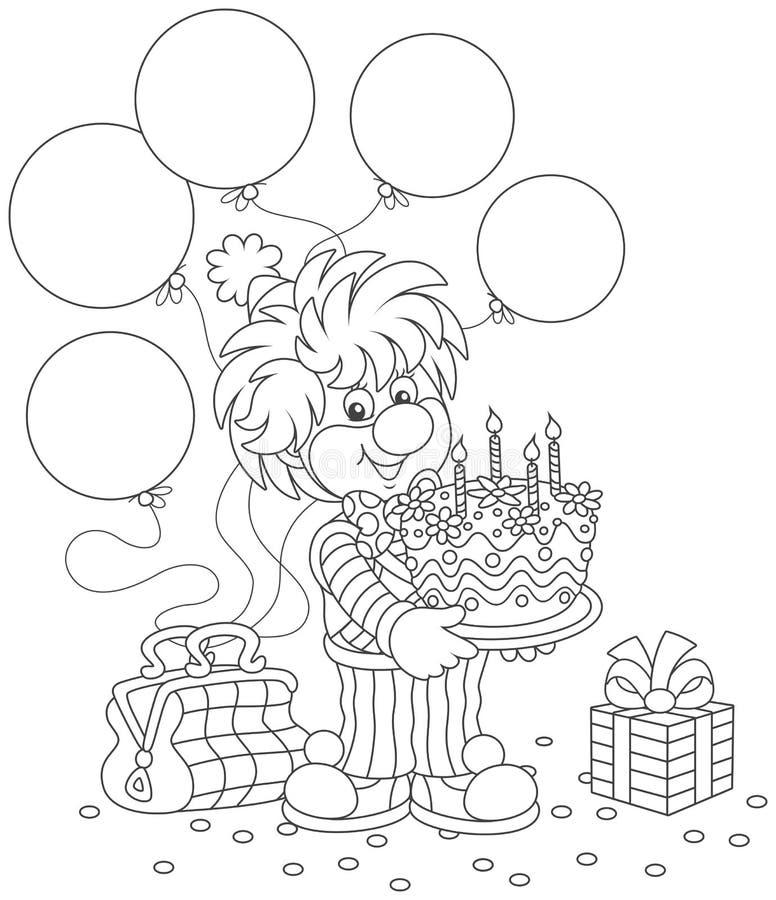 Pagliaccio di circo con la torta di compleanno royalty illustrazione gratis