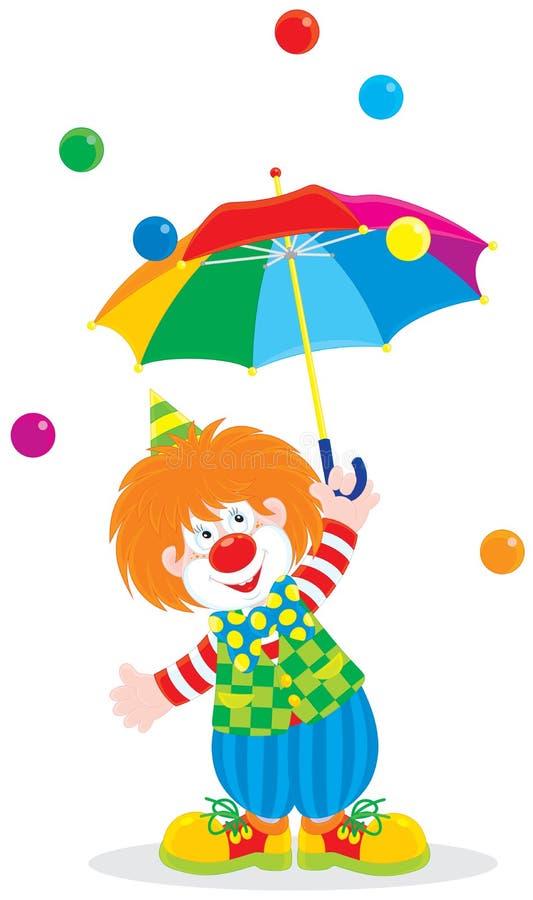 Pagliaccio di circo con un ombrello royalty illustrazione gratis