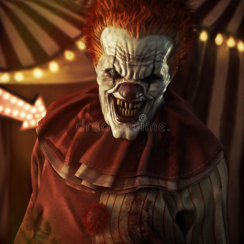 Pagliaccio di sguardo diabolico spaventoso che posa davanti ad una tenda di circo illustrazione vettoriale