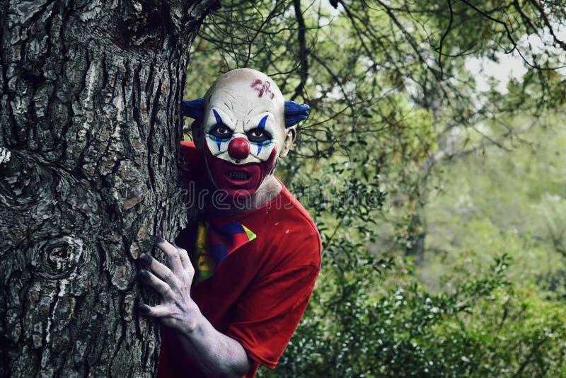Pagliaccio diabolico spaventoso nel legno fotografia stock