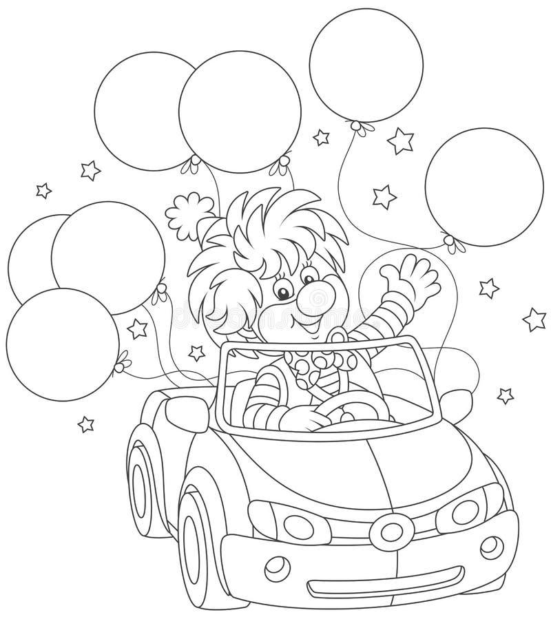 Pagliaccio divertente che conduce la sua automobile con i palloni royalty illustrazione gratis