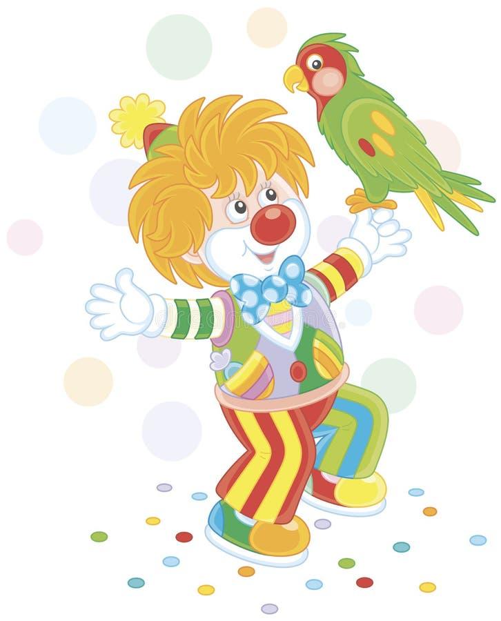Pagliaccio divertente che gioca con un pappagallo variopinto illustrazione di stock