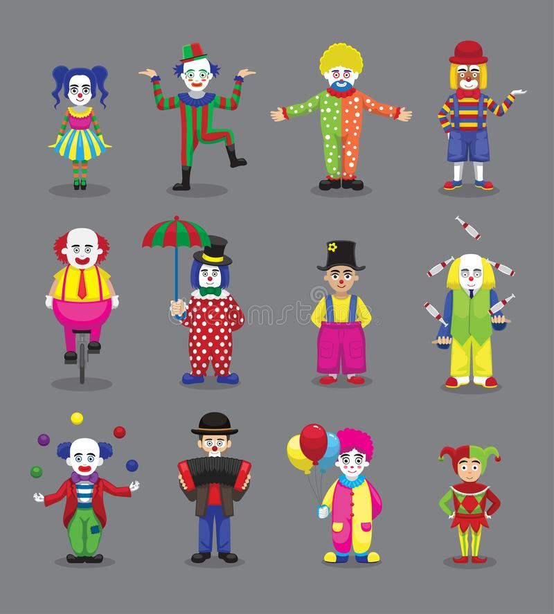Pagliaccio Joker Harlequin Jester Circus Cute Cartoon Characters illustrazione di stock