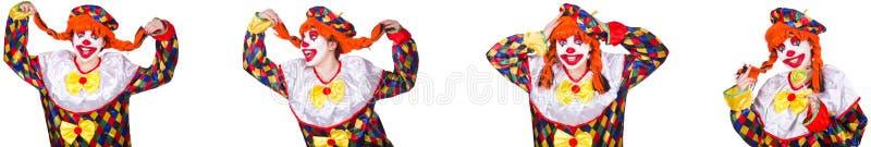 Pagliaccio maschio divertente isolato su bianco immagini stock libere da diritti