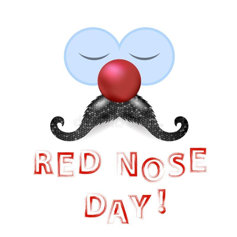 Pagliaccio Red Nose Day con i baffi illustrazione vettoriale